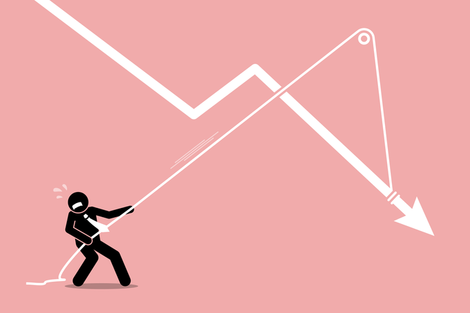 Businessman pulling a falling arrow graph chart from further dropping down Illustration