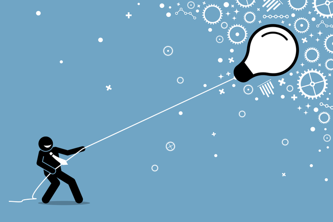 Businessman pulling a flying floating light bulb on a string Illustration