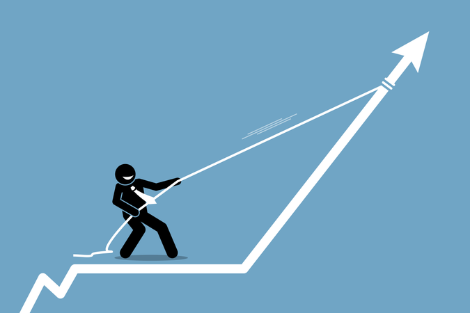 Businessman pulling arrow graph chart up with a rope Illustration