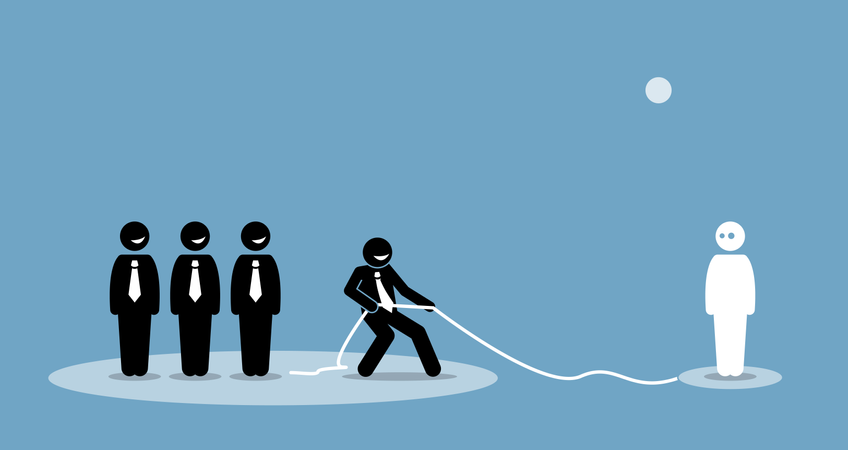 Businessman pulling connection and talent to join his company team Illustration