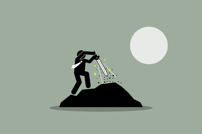 Businessman pulling Excalibur sword out from a rock Illustration