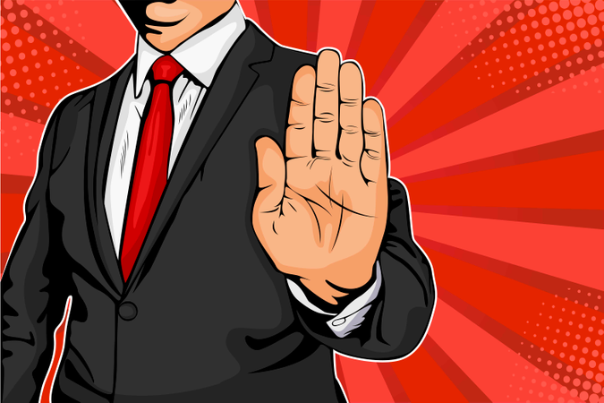 Businessman puts out his hand and orders to stop Illustration