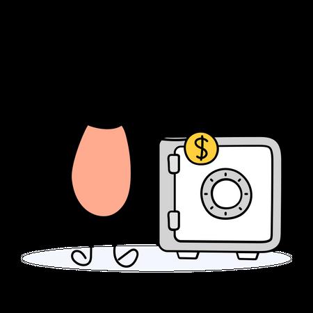 Businessman putting money in safe vault Illustration