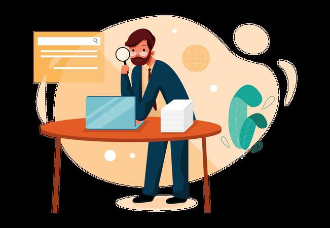 Businessman searching files on laptop Illustration