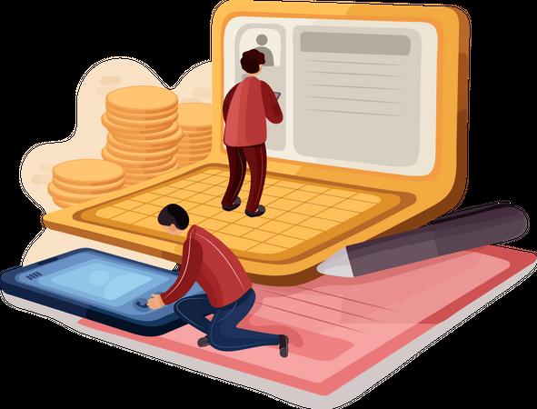 Businessman showing smart office Illustration
