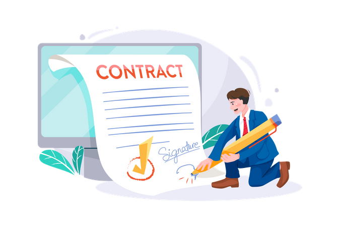 Businessman Signing Online business Contract Illustration