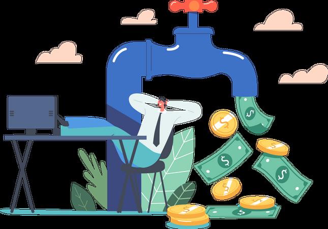 Businessman Sitting on Office Desk near Huge Tap with Money Flow Illustration