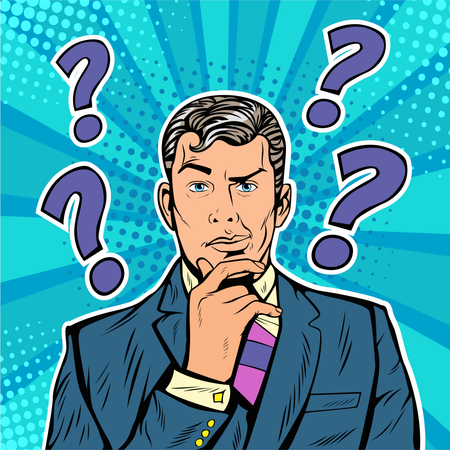Businessman skeptical facial expressions face with question marks upon his head. Pop art retro vector illustration in comic style Illustration