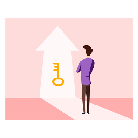 Businessman stand front of key for success Illustration