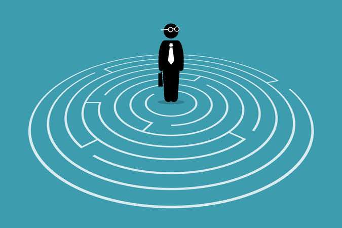 Businessman standing in the center of a maze Illustration
