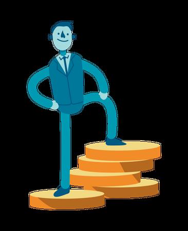 Businessman Standing on coins Illustration