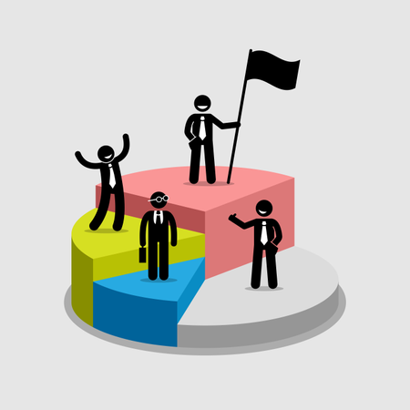 Businessman standing on top of each portion of a pie chart Illustration