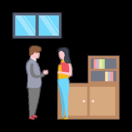 Businessman standing with her secretory Illustration