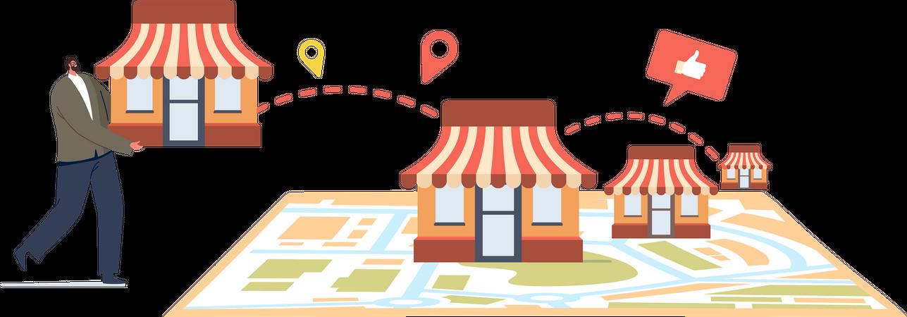 Businessman Start Small Enterprise Expansion Illustration