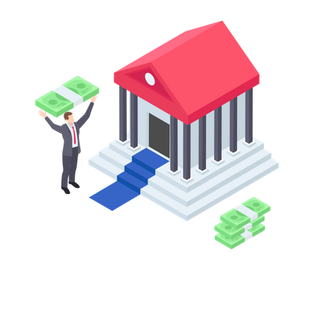 Businessman taking loan from bank for the home Illustration