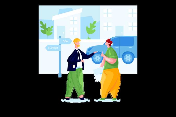 Businessman talking in street Illustration