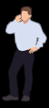 Businessman talking on phone Illustration