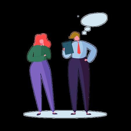 Businessman talking with his secretory Illustration