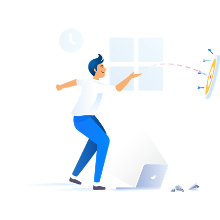 Businessman throwing darts on dartboard Illustration