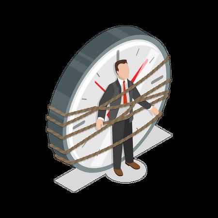Businessman trapped in workload Illustration