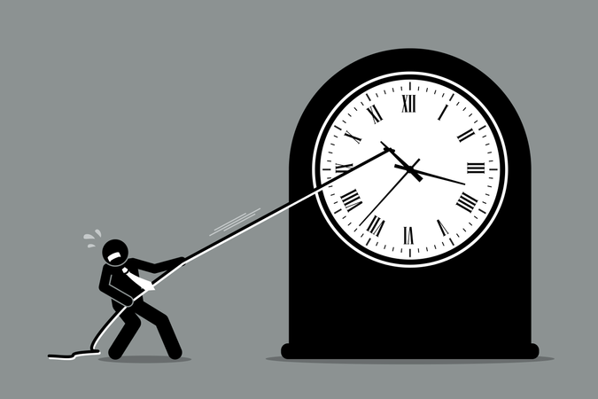Businessman trying to stop the clock from moving Illustration