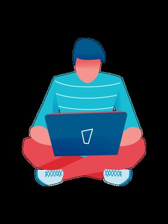Businessman using his laptop Illustration