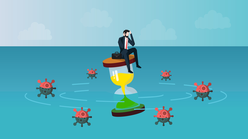 Businessman Waiting for The Covid-19 Infection Crisis End Illustration
