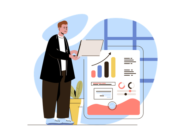 Businessman watching growth analytics Illustration