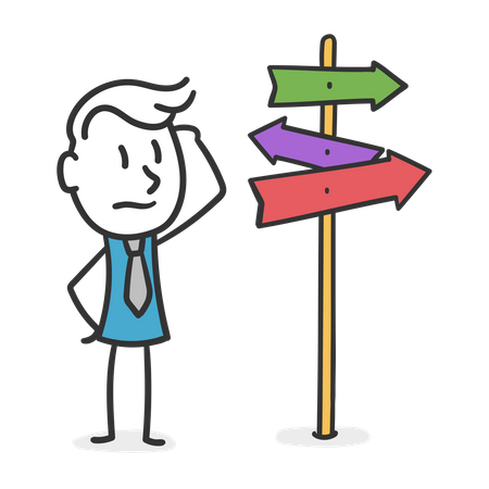 Businessman who has to make a decision Illustration