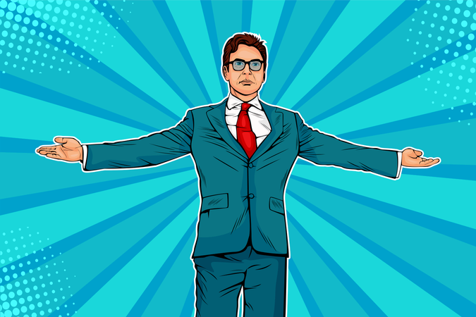 Businessman widely spread his arms as a winneer. Meeting other people. Domination and showing of success.  Vector illustration in pop art retro comic style Illustration