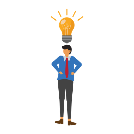 Businessman with an idea above his head Illustration