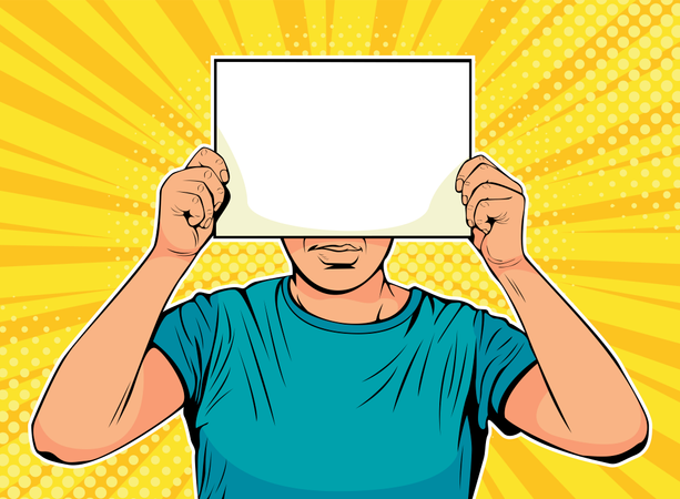 Businessman with blank paper in front of face Illustration