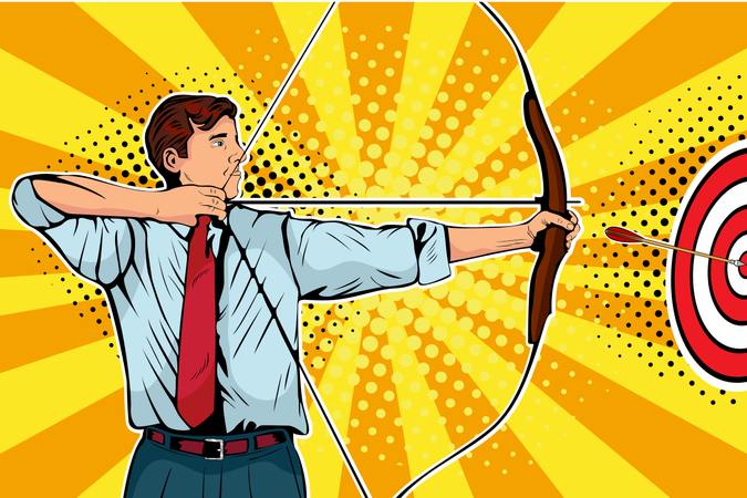 Businessman with bow, arrow and target Illustration