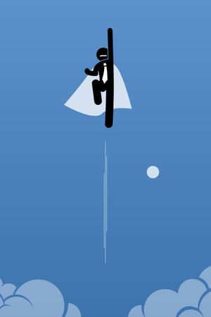Businessman with cape flying up to the sky Illustration