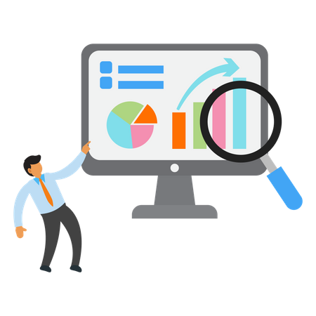 Businessman with data analyst in computer Illustration