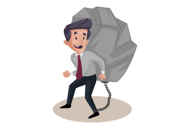 Businessman with heavy work load Illustration