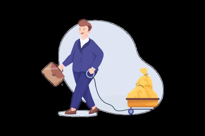 Businessman with large profit Illustration
