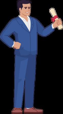 Businessman with legal document Illustration