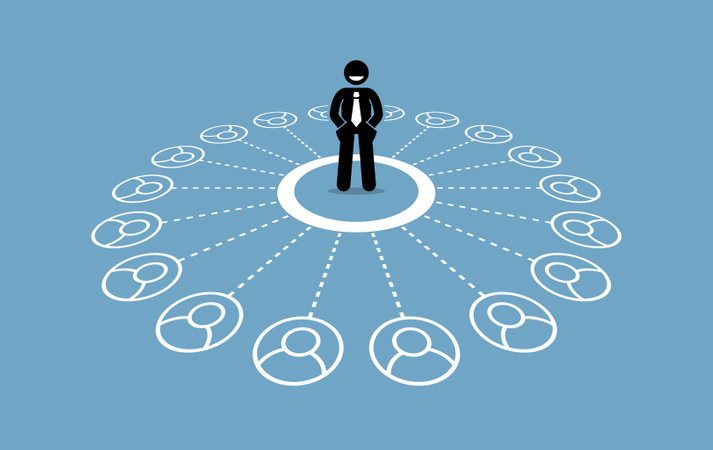 Businessman with many contacts and strong business network Illustration