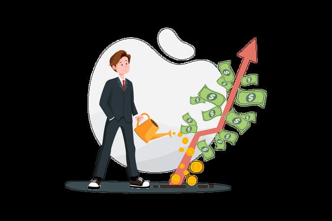 Businessman with profit growth concept Illustration