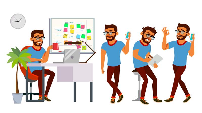 Businessman With Working Gesture Illustration