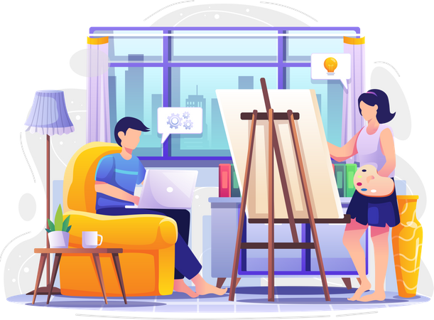 Businessman working from home and wife making art Illustration