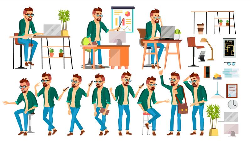 Businessman Working Gesture Illustration