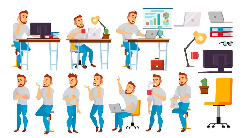 Businessman Working In Office Illustration