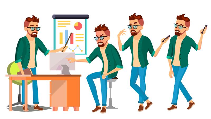 Businessman Working In Office On Desk Illustration