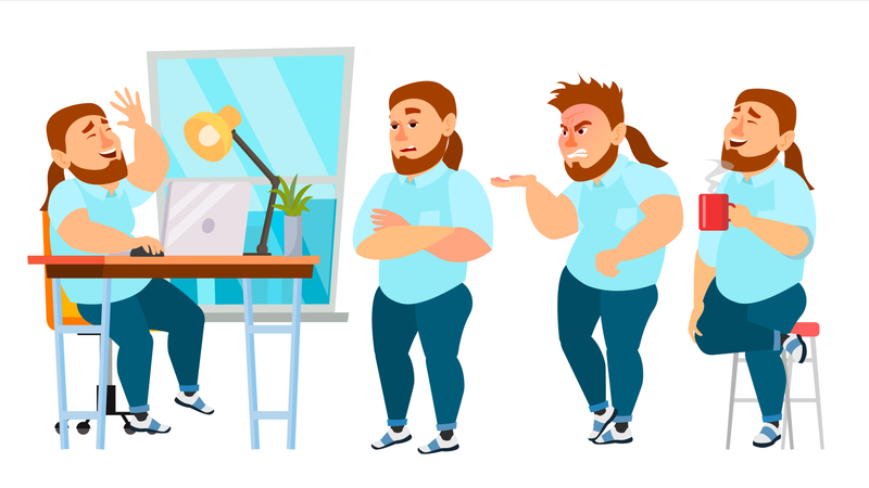 Businessman Working In Office On Desk With Different Gesture Illustration