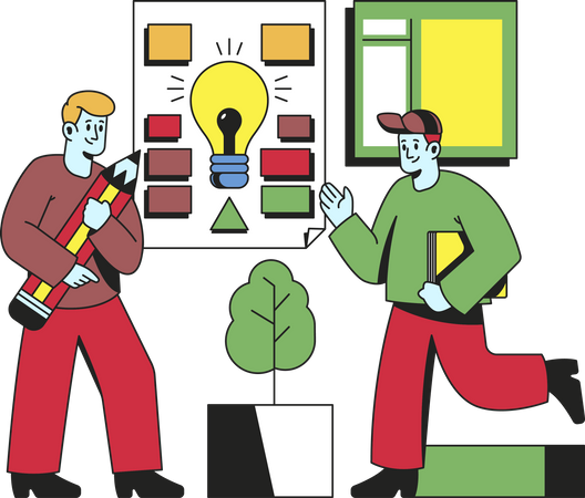 Businessman working on an idea with colleagues Illustration