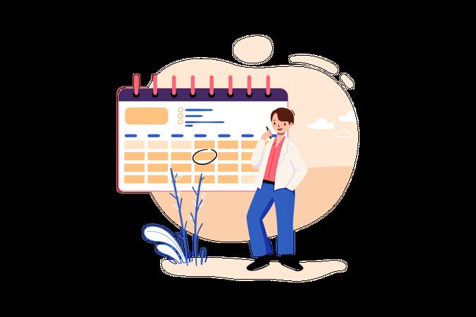Businessman working on business planning Illustration