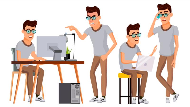 Businessman Working On Desk Illustration