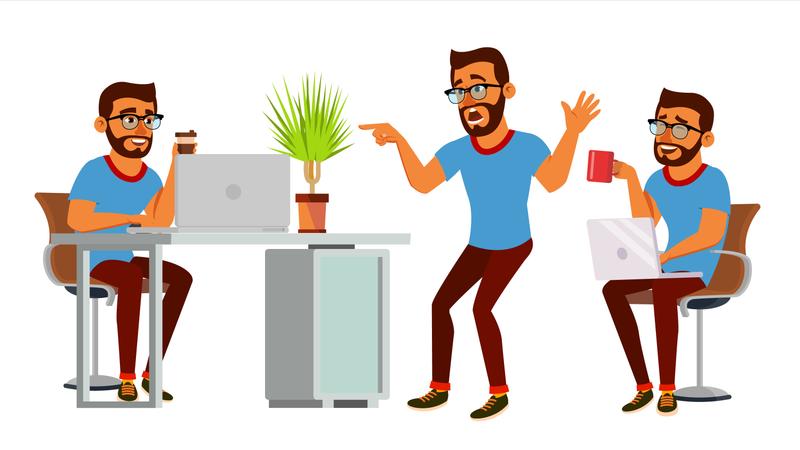 Businessman Working On Desk In Office Illustration